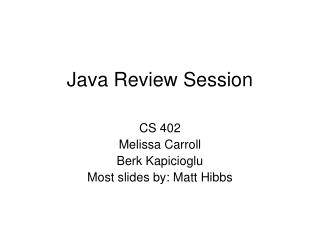 Java Review Session