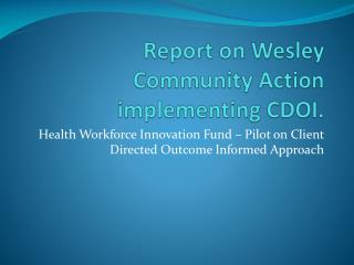 Report on Wesley Community Action implementing CDOI.