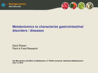 "Gut Microbiome and Effect on Metabolome, 3 rd  NUGO workshop ""Nutritional Metabolomics"""