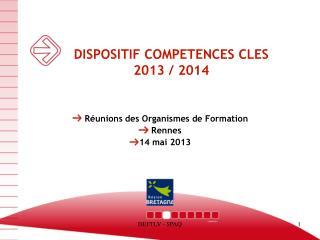 DISPOSITIF COMPETENCES CLES 2013 / 2014