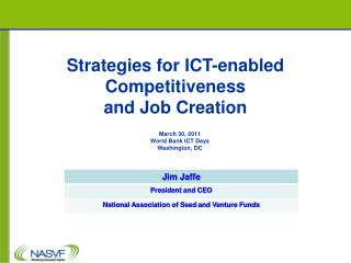 Strategies for ICT-enabled Competitiveness and Job Creation