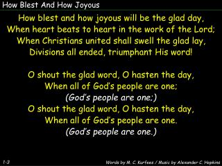 How Blest  And  How Joyous