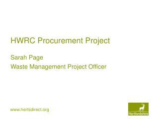 HWRC Procurement Project