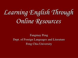 Learning English Through Online Resources