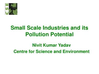 Small Scale Industries and its Pollution Potential