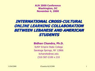 ALN 2000 Conference Washington, DC November 4, 2000