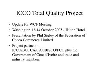 ICCO Total Quality Project