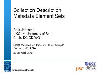 Collection Description  Metadata Element Sets
