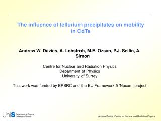 The influence of tellurium precipitates on mobility in CdTe