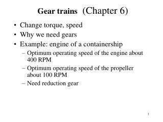Gear trains  Chapter 6