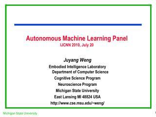 Autonomous Machine Learning Panel IJCNN 2010, July 20
