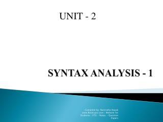 SYNTAX ANALYSIS - 1