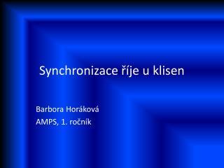 Synchronizace říje u klisen