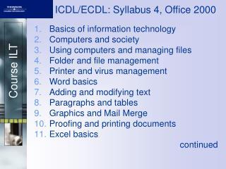 ICDL/ECDL: Syllabus 4, Office 2000