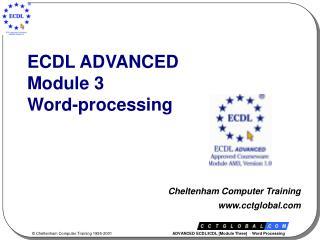 ECDL ADVANCED Module 3 Word-processing
