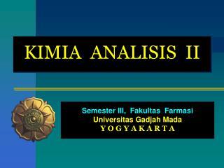 KIMIA  ANALISIS  II