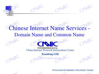 Chinese Internet Name Services - Domain Name and Common Name