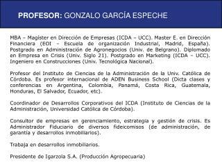 PROFESOR:  GONZALO GARCÍA ESPECHE