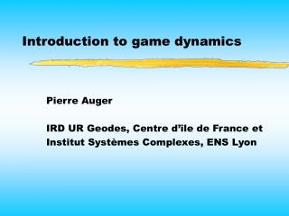 Introduction to game dynamics