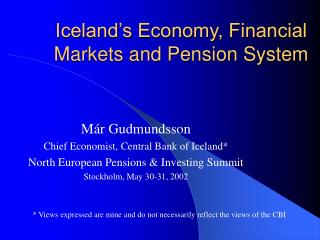 Iceland's Economy, Financial Markets and Pension System