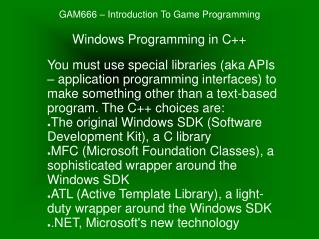 GAM666 � Introduction To Game Programming