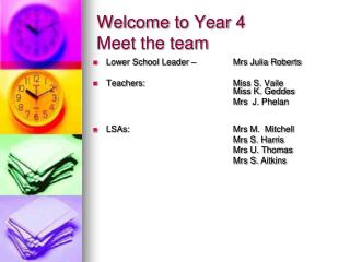 Welcome to Year 4 Meet the team