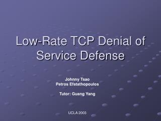 Low-Rate TCP Denial of Service Defense