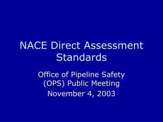 NACE Direct Assessment Standards