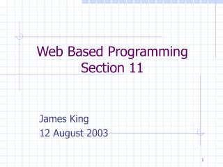 Web Based Programming Section 11
