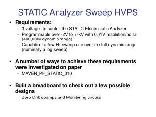 STATIC Analyzer Sweep HVPS