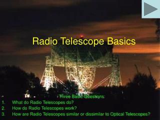 Radio Telescope Basics