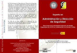 Experto en Administración y Dirección  de Seguridad