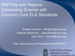 RAFTing  with Raptors: Connecting Science with Common Core ELA Standards