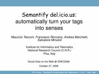 Semantify del.icio : automatically turn your tags into senses