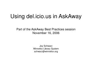 Using del.icio in AskAway