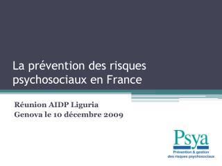 La pr vention des risques psychosociaux en France