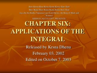 CHAPTER SIX: APPLICATIONS OF THE INTEGRAL