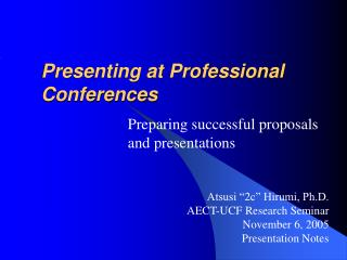 Presenting at Professional Conferences
