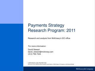 Payments Strategy Research Program: 2011