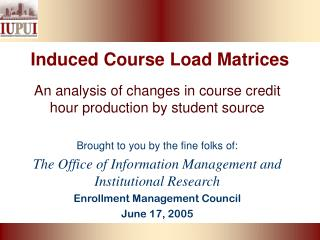 Induced Course Load Matrices