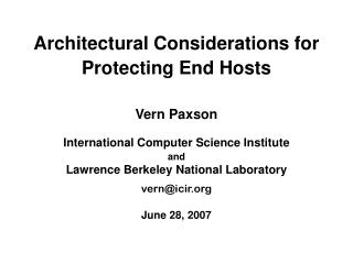 Architectural Considerations for Protecting End Hosts