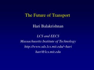 The Future of Transport
