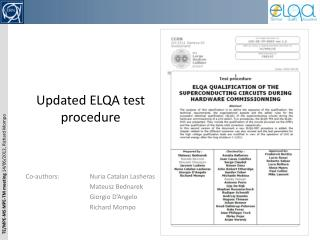 U pdated  ELQA test procedure