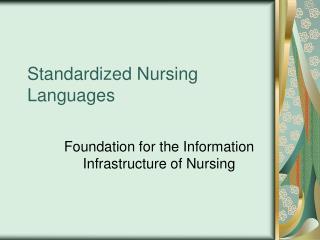 Standardized Nursing Languages