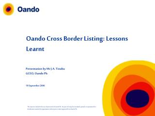 Oando Cross Border Listing: Lessons Learnt