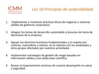Los 10 Principios de sostenibilidad