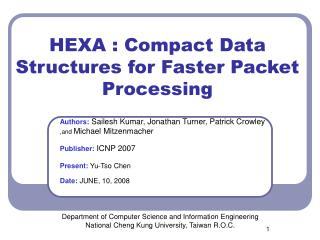 HEXA : Compact Data Structures for Faster Packet Processing