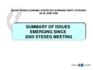 SUMMARY OF ISSUES  EMERGING SINCE  2005 STESEG MEETING