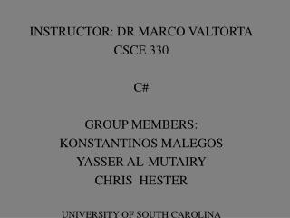 INSTRUCTOR: DR MARCO VALTORTA CSCE 330  C  GROUP MEMBERS: KONSTANTINOS MALEGOS YASSER AL-MUTAIRY CHRIS  HESTER  UNIVERSI