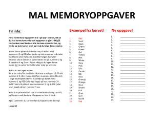 MAL MEMORYOPPGAVER